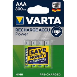 4x Akumulatorki VARTA RECHARGE ACCU POWER R3 AAA 1000mAh Ready2Use