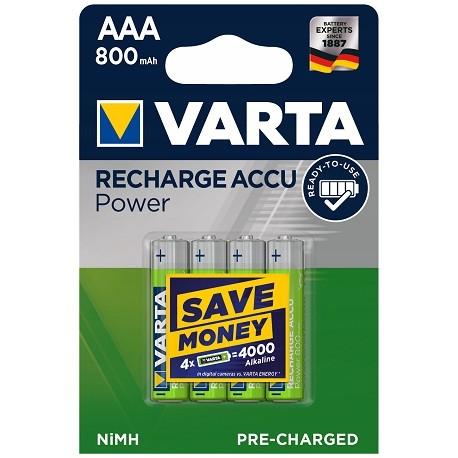 4x Akumulatorki VARTA RECHARGE ACCU POWER R3 AAA 1000mAh Ready2Use
