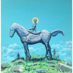 Obraz Festina lente III, akryl, papier akwarelowy, 30x30 cm, 2019